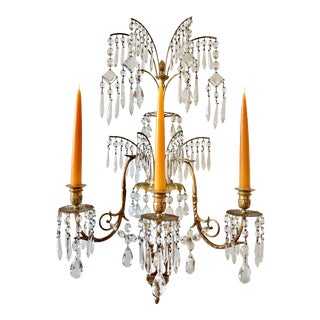 Four 19th Century Bronze and Crystal Neoclassical Sconces in Style of Schinkel For Sale