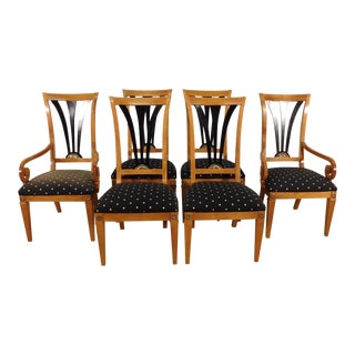 1980s Vintage Thomasville Grand Classics Empire Neoclassical Biedermeier Dining Chairs- Set of 6 For Sale