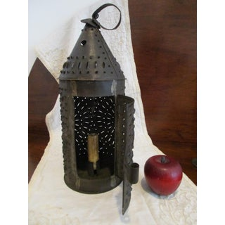 Antique 1800s New England Punched Tin or Sheet Metal Candle Lantern Preview