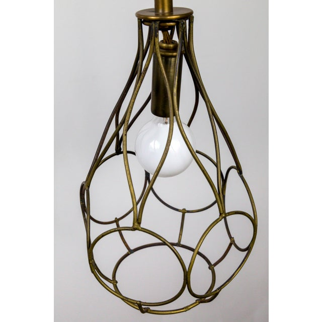 Metal Contemporary Long Arm Hanging Brass Cage Sconce With Circle Motif For Sale - Image 7 of 12