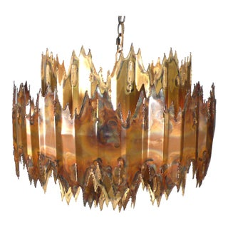 Brutalist Plasma Torch Cut Brass and Copper Chandelier For Sale