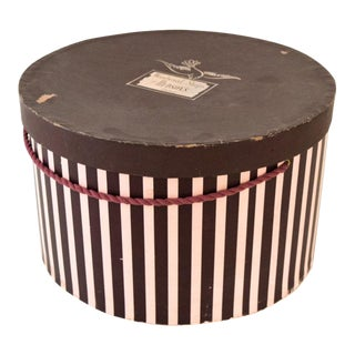 Vintage Pink & Eggplant Striped Hudson's Department Store Detroit Hat Box For Sale