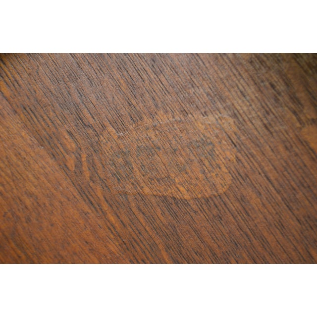 Arts & Crafts Style Antique Round Oak Drinks Table Stickley Era For Sale - Image 12 of 13