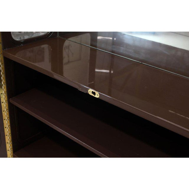 Tall High Gloss Lacquer Finish Rounded Beveled Glass Display Cabinet Wall Unit For Sale - Image 11 of 12