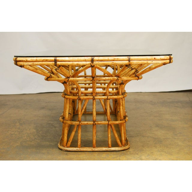 Brown Mid-Century Architectural Bamboo Dining Table For Sale - Image 8 of 10