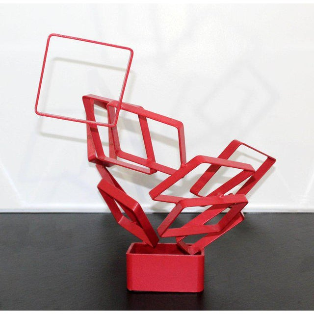 1990s Contemporary Red Metal Abstract Table Sculpture Signed Cynthia McKean For Sale In Detroit - Image 6 of 12