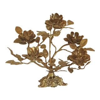 French Louis XVI Style Ormolu Bronze-Gold Flower Center Piece For Sale