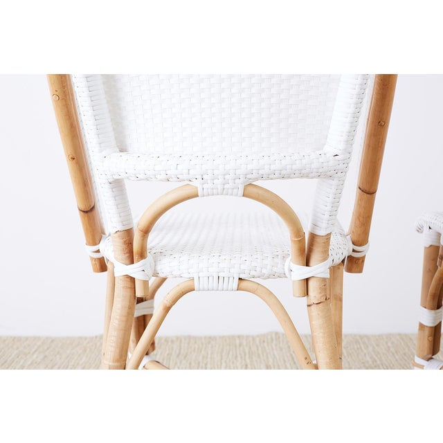 White Serena and Lily Bamboo Riviera Rattan French Bistro Chairs For Sale - Image 8 of 13