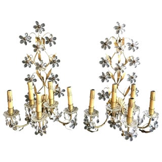 Pair of Five-Arm Italian Floral Crystal Wall Sconces For Sale
