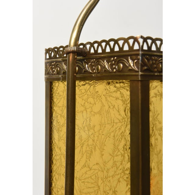 Traditional Victorian Harp Lantern with Amber Glass For Sale - Image 3 of 11