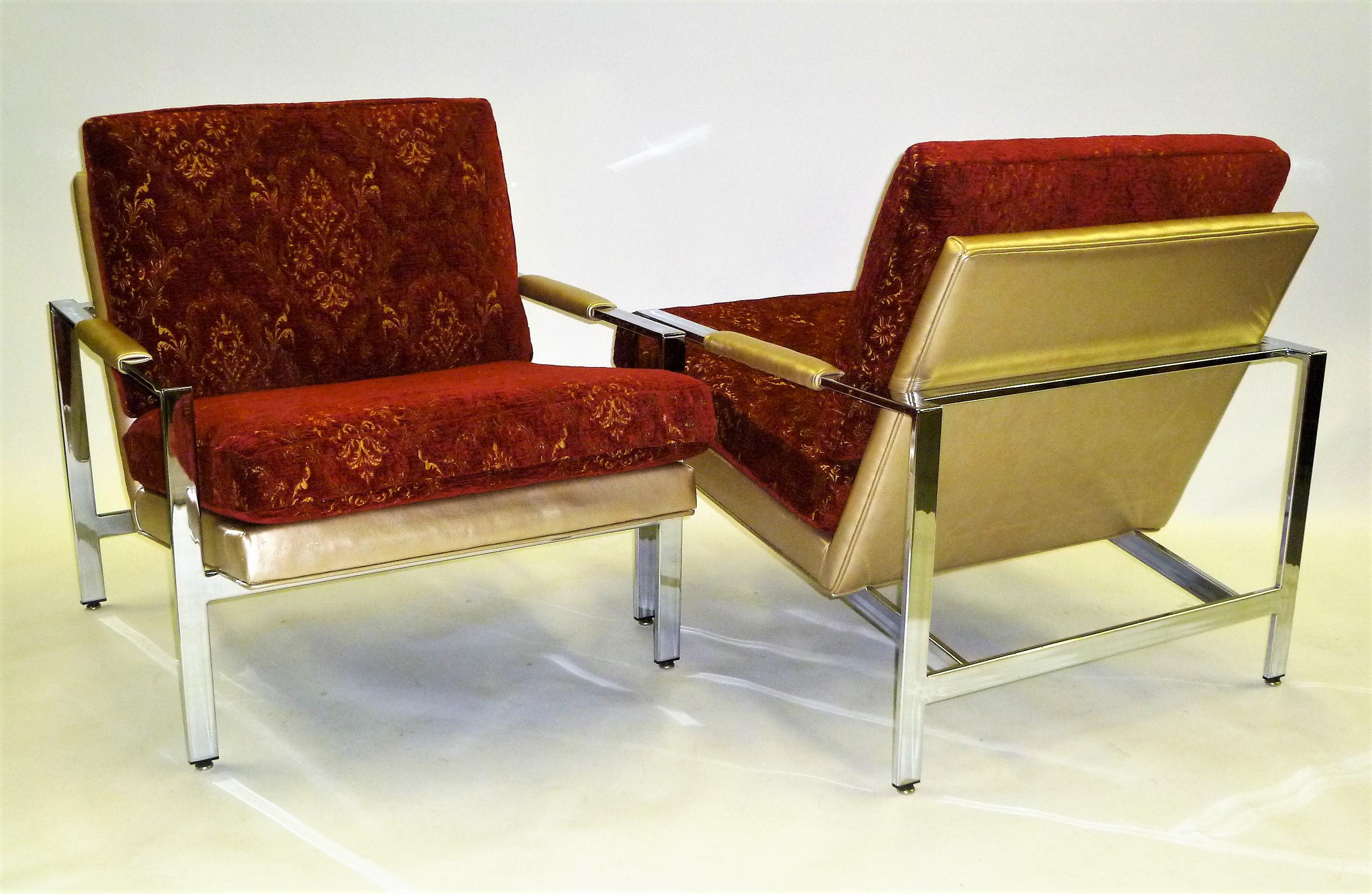 PAIR Milo Baughman Mid Century Modern Iconic Chrome Lounge Chairs For  Thayer Coggin .   Image
