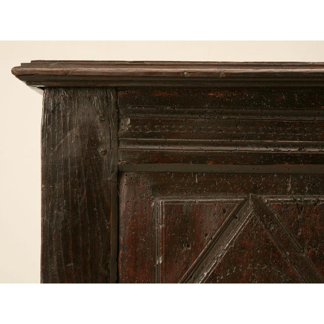 French Antique French Carved Two-Panel Coffer For Sale - Image 3 of 11