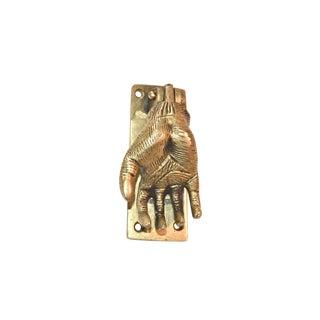 1980s Boho Chic Open Hand Brass Door Knocker For Sale