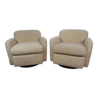 1970s Mid-Century Modern Wool Tweed Swivel Chairs - a Pair