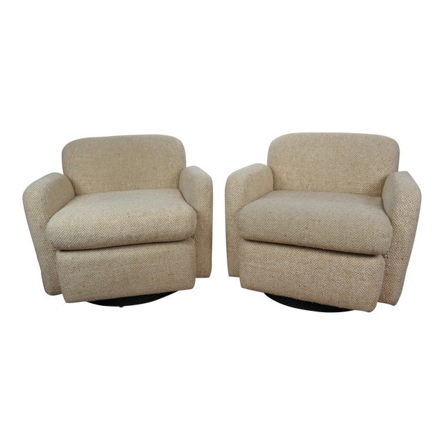 1970s Mid-Century Modern Wool Tweed Swivel Chairs by Preview - a Pair For Sale