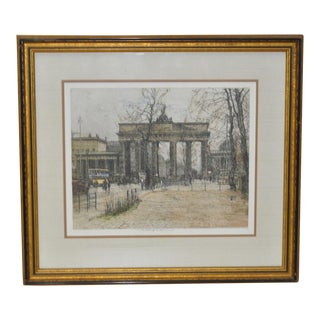 "Luigi Kasimir ""Brandenburg Gate"" Color Etching - Estate Signed For Sale"