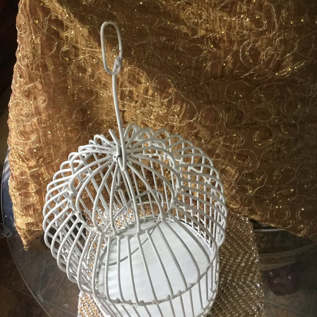 Metal Mid-Century White Bird Cage For Sale - Image 7 of 8