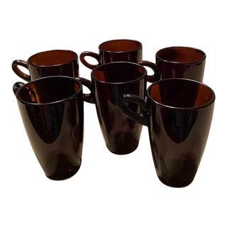 Glass Coffee/Tea Mugs - Set of 6 For Sale