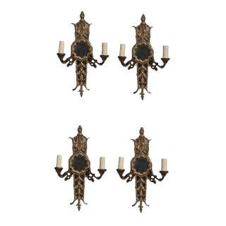 Set of Four Electrified Gilt Brass Sconces For Sale