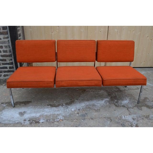 Vintage Mid Century Modern Steelcase Two Piece Sofa Set in Original Orange  Fabric
