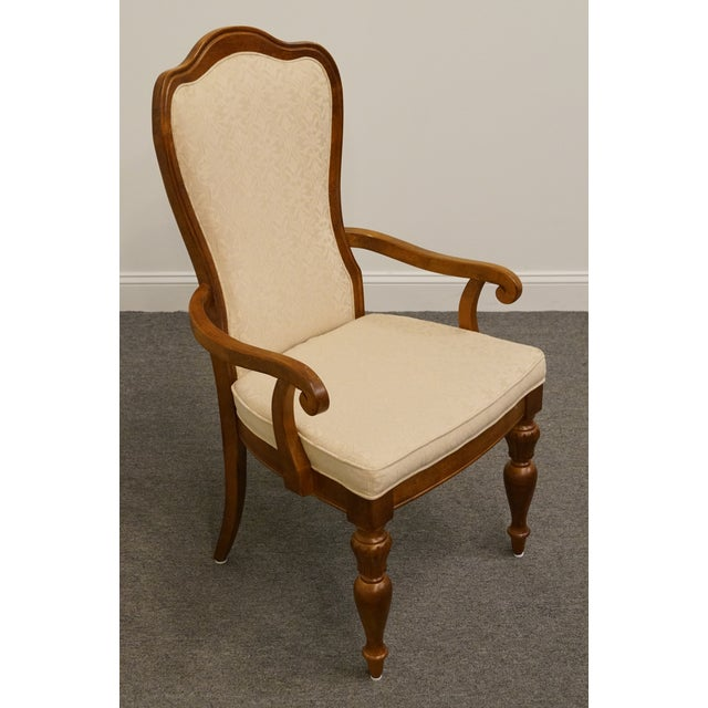Stanley Furniture Late 20th Century Vintage Stanley Furniture Italian Tuscan Style Upholstered Dining Arm Chair For Sale - Image 4 of 9