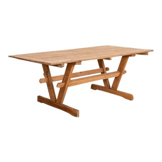 Antique Farm Table Trestle Kitchen Dining Table For Sale