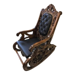 Walnut Carved Rocking Chair For Sale