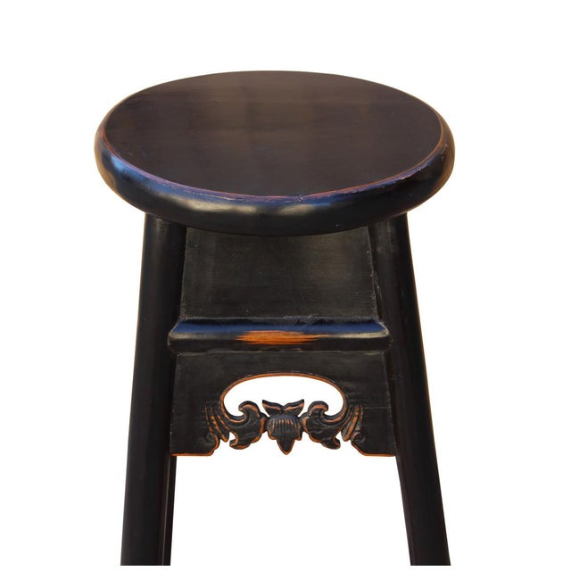 Quality Handmade Chinese Black Color Solid Elm Wood Bar Stool For Sale - Image 5 of 5