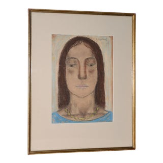 Abraham Walkowitz Pastel Portrait of Isadora Duncan C.1920's For Sale