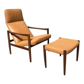 Swedish Lounge Chair & Ottoman With New Leather Upholstery