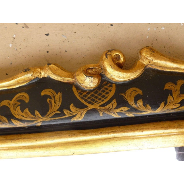 Asian 1970's Vintage Italian Chinoiserie Black Lacquer Gilt Mirror For Sale - Image 3 of 7