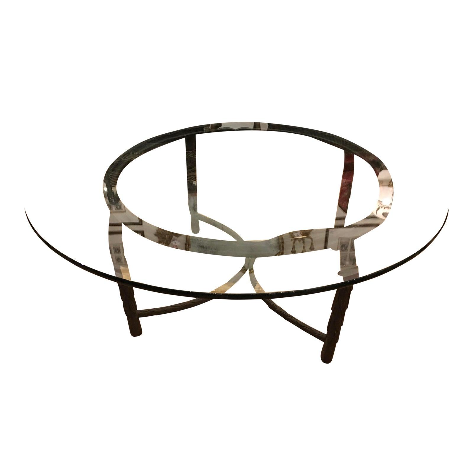 Round modern designer wrought iron coffee table chairish