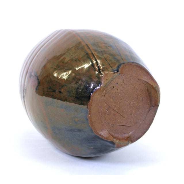 Brown Japanese Mid-Century Modern Studio Pottery Vase For Sale - Image 8 of 9