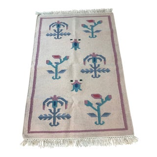 1980s Vintage Southwestern Aztec Style Wool Rug - 2′7″ × 3′12″ For Sale