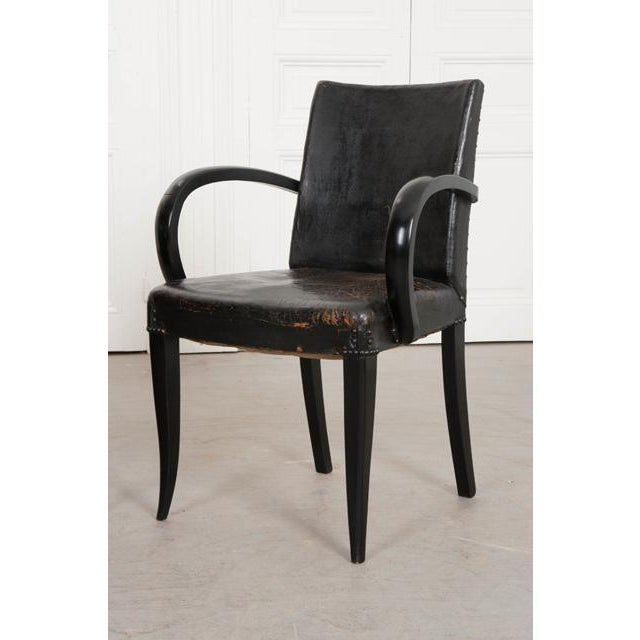 1930s French 20th Century Art Deco Ebony Armchairs - a Pair For Sale - Image 5 of 10