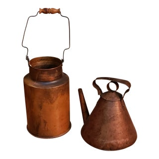 Mid Century Copper Jugs and Kettle or Watering Can -A Pair For Sale