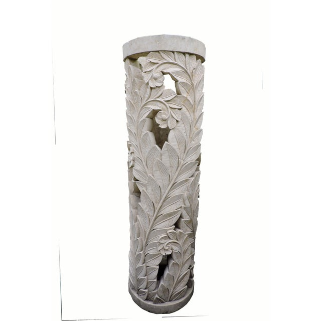Stone Balinese Carved Stone Pedestal With Fern Motif For Sale - Image 7 of 7