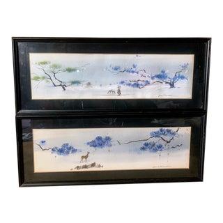 John V Hudak Watercolor Paintings - Set of 2 For Sale
