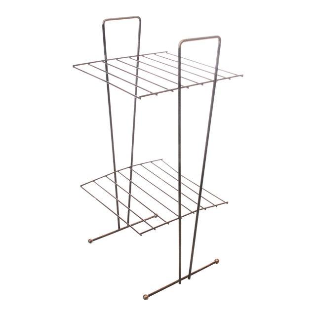 Mid Century Modern Black Metal Wire Stand | Chairish