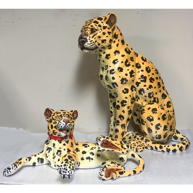 Gold Mother and Baby Italian Terracotta Leopard Figurines For Sale - Image 8 of 9