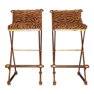 Pair of Vintage Hollywood Regency Gold Tiger Stripped Barstools For Sale