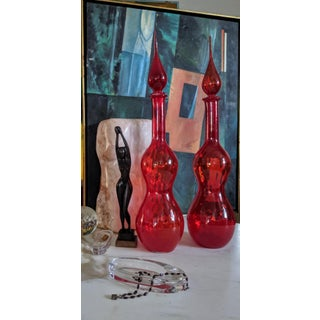 Tall Ruby Red Blenko Art Glass Decanters, a Pair Preview