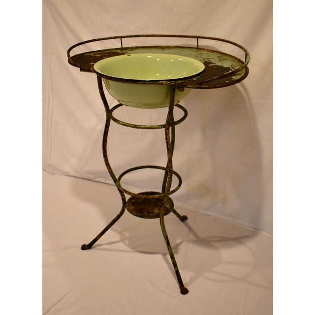 Wrought Iron Washstand With Enameled Copper Bowl For Sale - Image 4 of 11