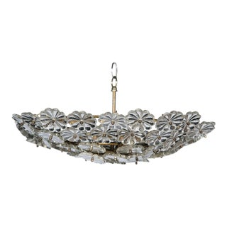 1930s French Floral Glass and Bronze Light Fixture For Sale