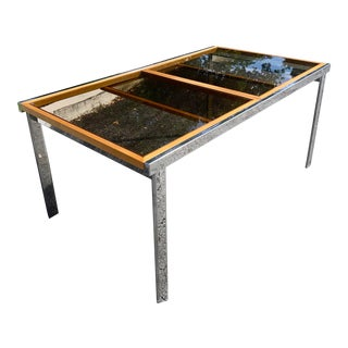 Modern Chrome Wood and Tinted Glass Extendable Dining Table For Sale