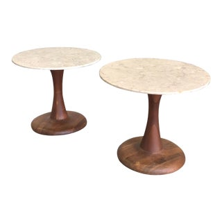 Midcentury Danish Marble-Top Tulip End Tables - A Pair