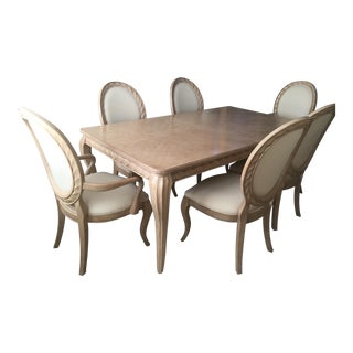 Bernhardt Tuscan Traditional Dining Room Set - Table 6 Chairs- Light Wood- Expandable For Sale