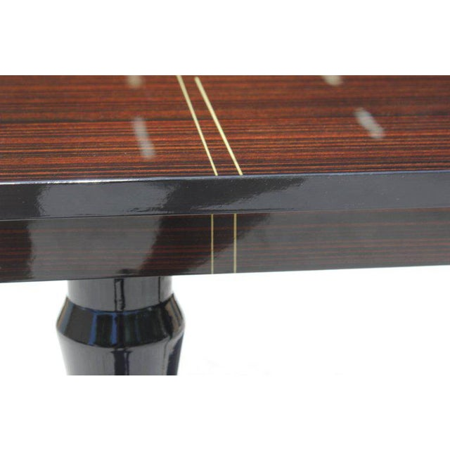 1940s 1940s Art Deco Exotic Macassar Ebony Square Center Table For Sale - Image 5 of 11
