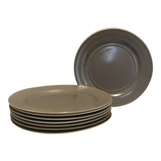 1930s Hazel Atlas Milk Glass Gray Dinner Plates- Set of 8 For Sale