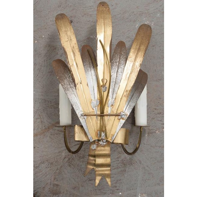 "French Vintage Gilt and Silvered Metal ""Cattail-Leaf"" Sconces - a Pair For Sale - Image 10 of 11"